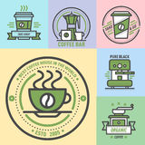 Coffee badge logo food design thin line lettering for restaurant, cafe menu coffee house and shop element beverage label Royalty Free Stock Photo