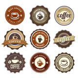 Coffee Badges. Nine Coffee Badges For Web Or Print Stock Images
