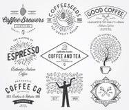 Coffee badges black Stock Photos