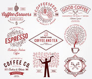 Coffee badges colored Royalty Free Stock Images
