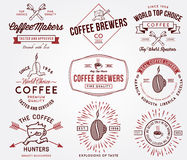 Coffee badges and labels colored Royalty Free Stock Images
