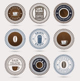 Coffee badges. Set of round badges, coffe related. Vector contains transparent objects Royalty Free Stock Photos
