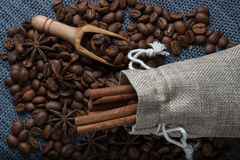 Coffee in a bag of anise and cinnamon Stock Photos