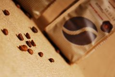 Coffee bag and beans Royalty Free Stock Photography