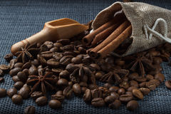 Coffee in a bag of cinnamon and anise.  Royalty Free Stock Photos