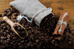 Coffee in a bag of cinnamon and anise Stock Photo