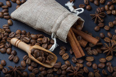 Coffee in a bag with cinnamon sticks and anise.  Stock Photos