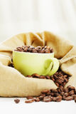 Coffee in bag and cup Stock Photo