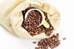 Coffee in bag and cup above view Stock Images