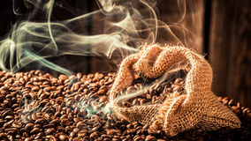 Coffee bag full of aroma roasted grains Royalty Free Stock Image
