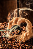 Coffee bag full of aroma roasted seeds Stock Images