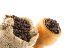 Coffee bag full of beans Stock Image