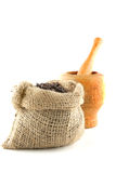 Coffee bag full of beans Royalty Free Stock Images