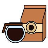 Coffee bag product with coffee maker. Vector illustration design royalty free illustration