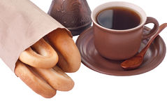 Coffee and bagel Stock Images