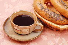 Coffee with a bagels Stock Images