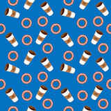 Coffee and bagels. Flat  illustration. Flat  illustration. The coffee and bagels on the blue background Stock Photography