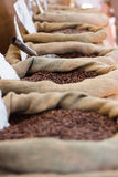 Coffee bags. Several bags of coffee in a row Stock Photo