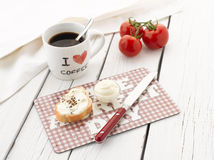 Coffee and Baguette with Cream Cheese Stock Images