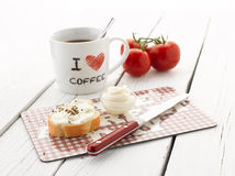 Coffee and Baguette with Cream Cheese royalty free stock image