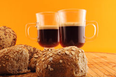 Coffee and baked bread Royalty Free Stock Photos