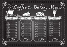 Coffee and bakery menu on chalkboard template Royalty Free Stock Photo