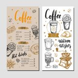 Coffee and Bakery restaurant Menu 4. Coffee and Bakery restaurant Menu, brochure. Vector hand drawn template with icons and handwritten Lettering, Calligraphy Stock Images