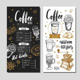 Coffee and Bakery restaurant Menu 1. Coffee and Bakery restaurant Menu, brochure. Vector hand drawn template with icons and handwritten Lettering, Calligraphy Royalty Free Stock Images