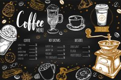 Coffee and Bakery restaurant Menu 2. Coffee and Bakery restaurant Menu, brochure. Vector hand drawn template with sketch illustrations and handwritten Lettering Royalty Free Stock Images