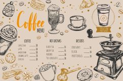 Coffee and Bakery restaurant Menu. Brochure. Vector hand drawn template with sketch illustrations and handwritten Lettering, Calligraphy Royalty Free Stock Photos