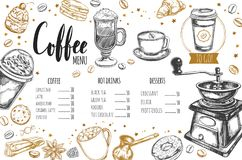 Coffee and Bakery restaurant Menu 3. Coffee and Bakery restaurant Menu, brochure. Vector hand drawn template with sketch illustrations and handwritten Lettering Royalty Free Stock Photo