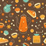 Coffee and bakery seamless background Stock Images