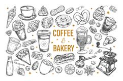Coffee and Bakery set. Vector hand drawn isolated objects. Sketch icons Royalty Free Stock Image