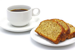 Coffee and banana bread Stock Photography