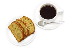Coffee and banana bread Stock Images
