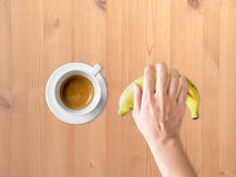 Coffee and banana diet meal. Royalty Free Stock Image