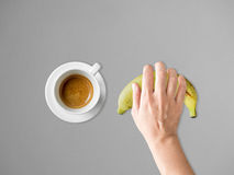 Coffee and banana diet meal. Stock Image