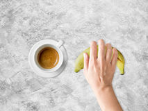 Coffee and banana diet meal. Royalty Free Stock Images