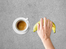 Coffee and banana diet meal. Royalty Free Stock Photos