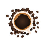 Coffee Banner. Coffee Time. Cup, grain, Vector flat illustration. Royalty Free Stock Photo