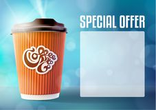 Coffee Banner Concept Blue Background. Vector EPS10 Royalty Free Stock Photos