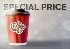 Coffee Banner Concept Grey Background. Vector EPS10 Royalty Free Stock Photos