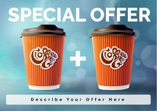 Coffee Banner 1 plus 1 Concept Blue Background. Vector EPS10 Stock Images