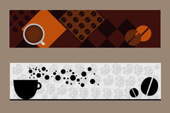 Coffee banners. Set of two coffee banners isolated on brown background.EPS file available Royalty Free Stock Photography