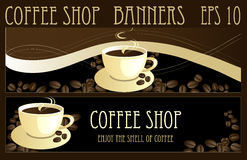 Coffee banners. Coffee design banners for coffee shop Royalty Free Stock Images
