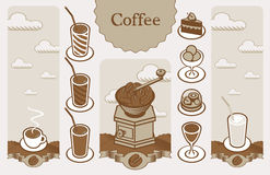 Coffee banners. Set to a cafe with banners and pictures of various products Royalty Free Stock Image