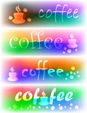Coffee banners. Four coffee different color banners Stock Images
