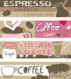 Coffee banners. Four type of Coffee banners Royalty Free Stock Photography