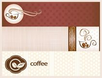 Coffee banners. With cups and beans of coffee Royalty Free Stock Photography