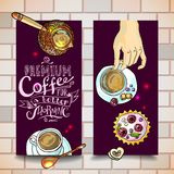 Coffee banners. Beautiful hand- drawn coffee baners  for your design Stock Photo